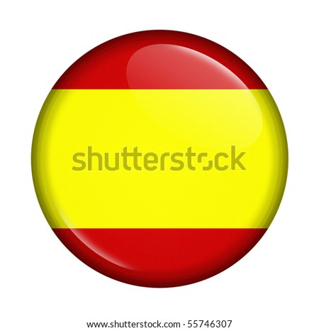 icon with flag of Spain isolated on white background - stock photo