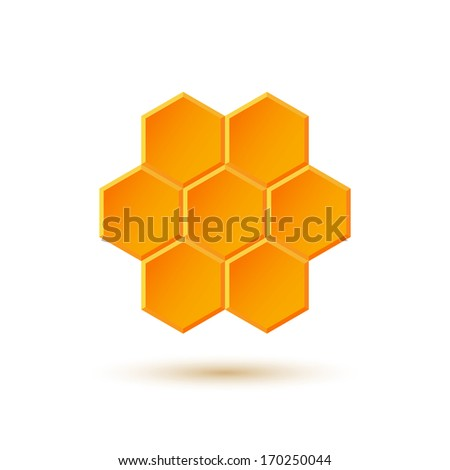 Icon with honeycombs - stock photo