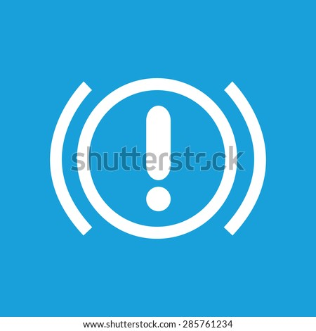 Icon with image of alert sign, isolated on blue - stock photo