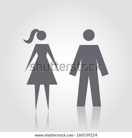Icon with man and woman. Simple illustration with figures of peoples. Stylized silhouettes of person. Abstract sign for print and web  - stock photo