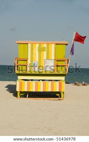 iconic architecture of   lifeguard beach house hut south beach miami florida - stock photo
