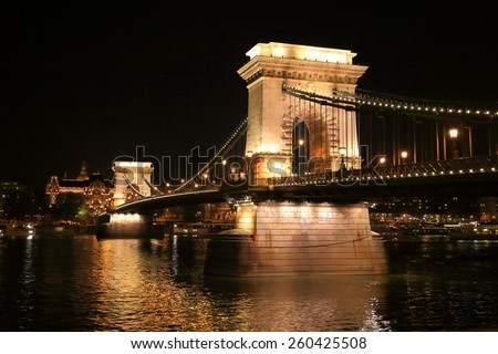Iconic building of the Chain bridge during night, Budapest, Hungary - stock photo