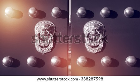 Iconic Chinese Gate Lion History China Religion Concept - stock photo