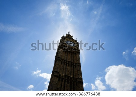 Iconic Clock of London: Big Ben is the nickname for the Great Bell of the clock at the north end of the Palace of Westminster in London