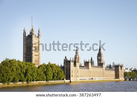 Iconic houses of parliament in London, UK