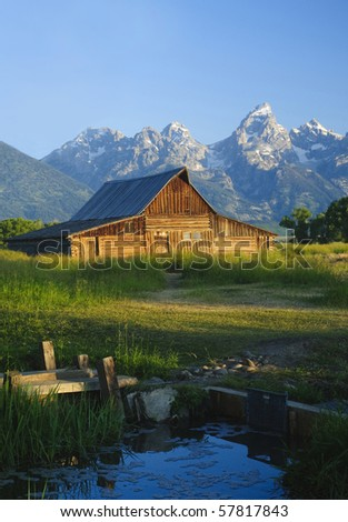 Iconic Mormon barn in the Teton National park, Wyoming - stock photo