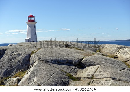 Iconic Peggy's Point lighthouse at Peggy's Cove near Halifax, Nova Scotia, Canada