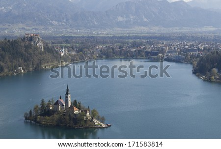 Iconic picture of Slovenian landmark Bled Island - stock photo