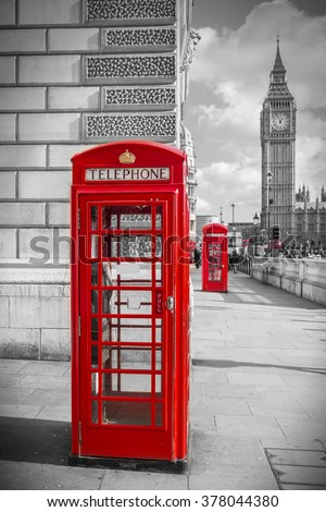 Iconic Red British telephone box with Big Ben on a sunny afternoon - Black and White version- London, UK - stock photo