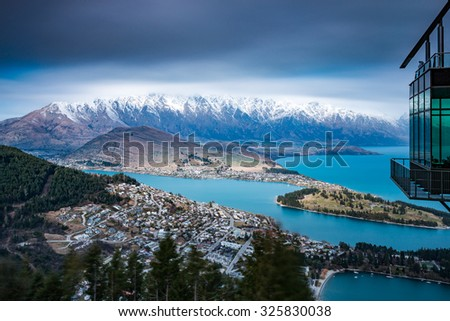 Iconic View of Queenstown from the Skyline | Queenstown, NEW ZEALAND - stock photo