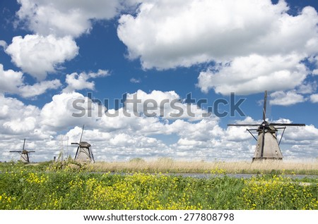 Iconic windmills in Netherlands  - stock photo