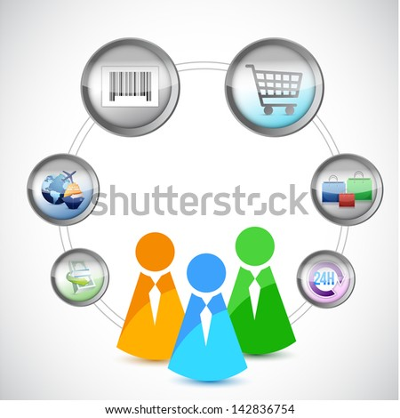 icons E-Commerce and Online Shopping Concept illustration design over white - stock photo