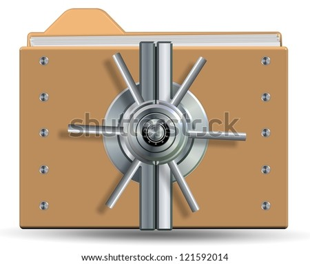 Icons for a computer folder with a vault lock on it / Protected folder and files - stock photo