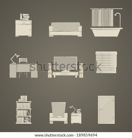 Icons for apartment. Set of gray icons for apartment on dark gray. - stock photo