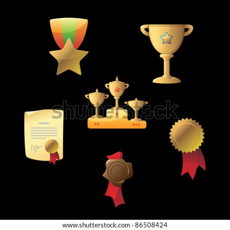 Icons for awards. Raster version. Vector version is also available. - stock photo