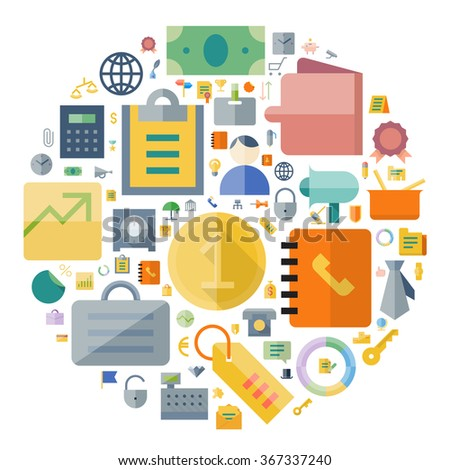 Icons for business and finance arranged in circle. - stock photo