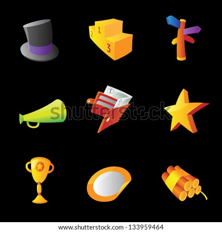 Icons for business metaphors, black background. Raster version. Vector version is also available.