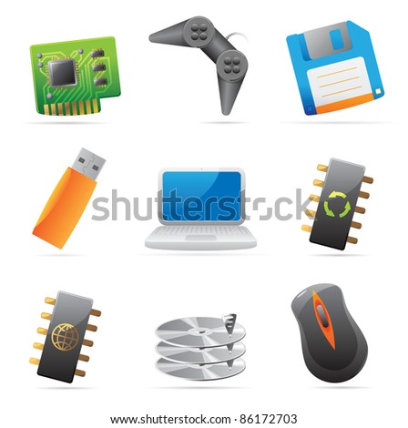 Icons for computer and computer parts. Raster version. Vector version is also available.