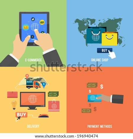 Icons for e-commerce, delivery, online shopping, payment methods, business tools. Raster version - stock photo