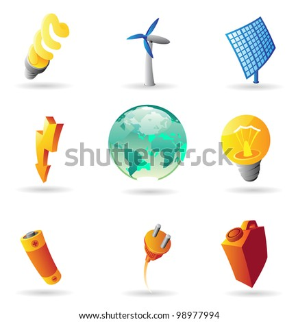 Icons for energy and ecology. Raster version. Vector version is also available. - stock photo