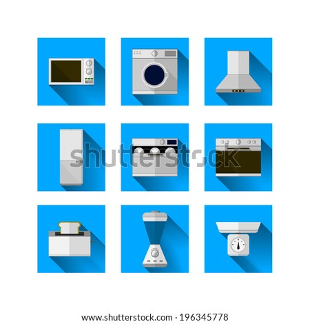 Icons for home equipment. Set of nine square blue icons with white and colored equipment for home on white background. - stock photo