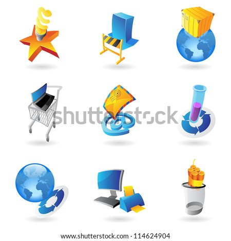 Icons for industry and ecology. Raster version. Vector version is also available. - stock photo
