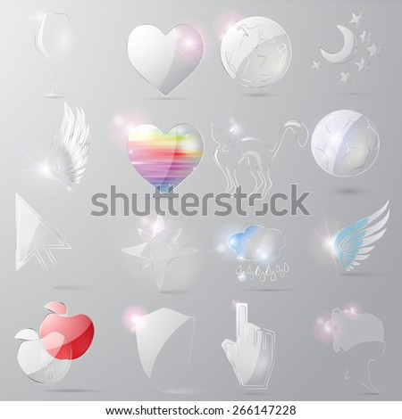 icons for internet,  glass - stock photo