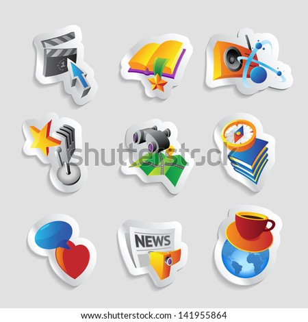 Icons for leisure, travel, sport and arts. Raster version. Vector version is also available. - stock photo