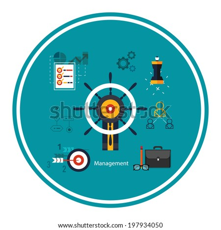 Icons for management concept, business tools. Concept of different icons in flat design. Raster version - stock photo