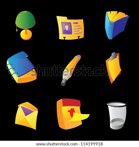 Icons for office on black background. Raster version. Vector version is also available. - stock photo