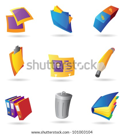 Icons for office. Raster version. Vector version is also available. - stock photo