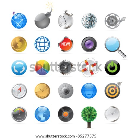 Icons for round objects and symbols. Raster version. Vector version is also available. - stock photo