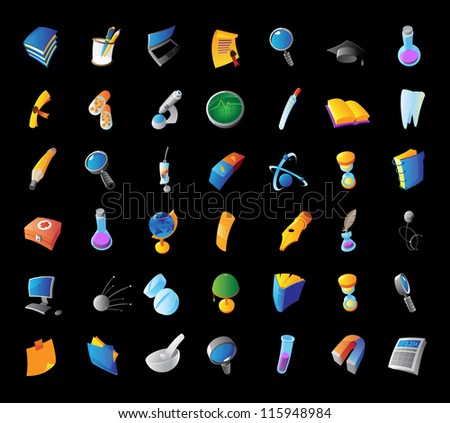 Icons for science, medicine and education. Black background. Raster version. Vector version is also available. - stock photo