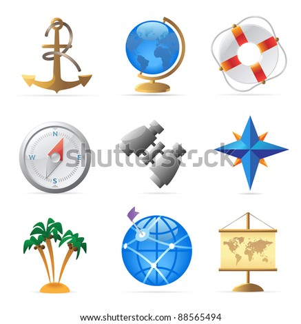 Icons for sea travel. Raster version. Vector version is also available. - stock photo