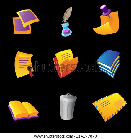 Icons for stationery, black background. Raster version. Vector version is also available. - stock photo