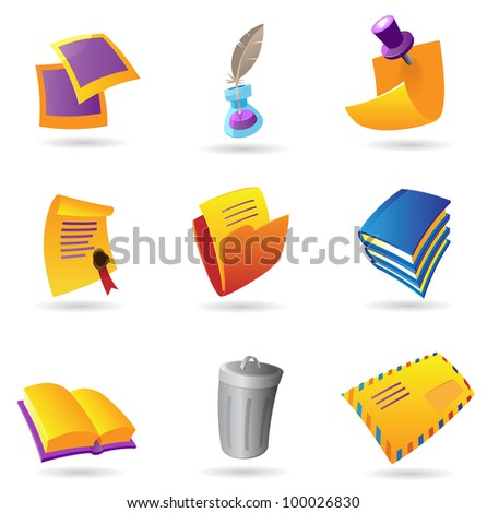 Icons for stationery. Raster version. Vector version is also available. - stock photo