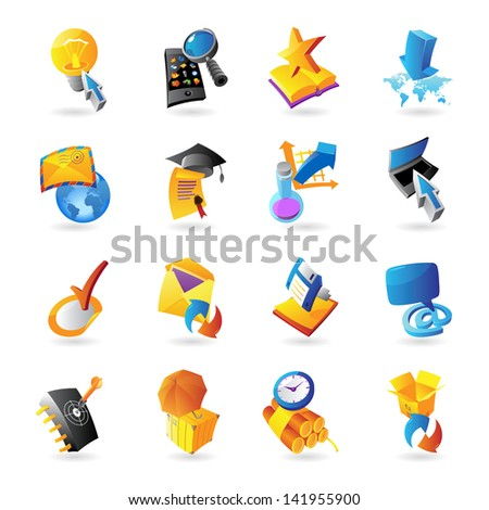 Icons for technology and computer interface. Raster version. Vector version is also available.