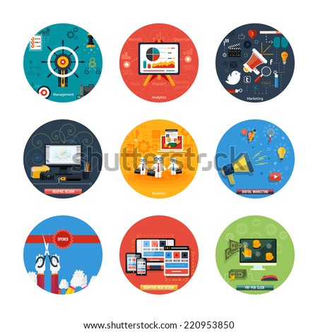 Icons for web design, seo, social media and pay per click internet advertising, analytics, business, management, marketing, adaptive design, digital marketing  in flat design. Raster version - stock photo