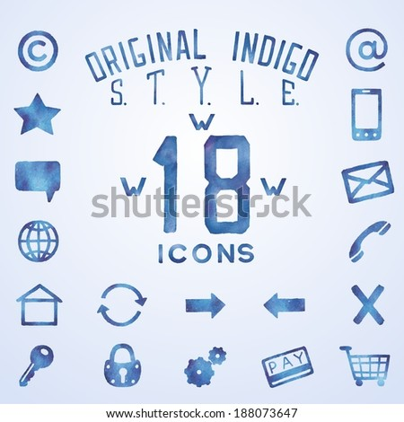 Icons for web interface in blue indigo style, watercolor technique. Raster illustration