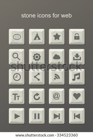 Icons for web. Stone icons for web.