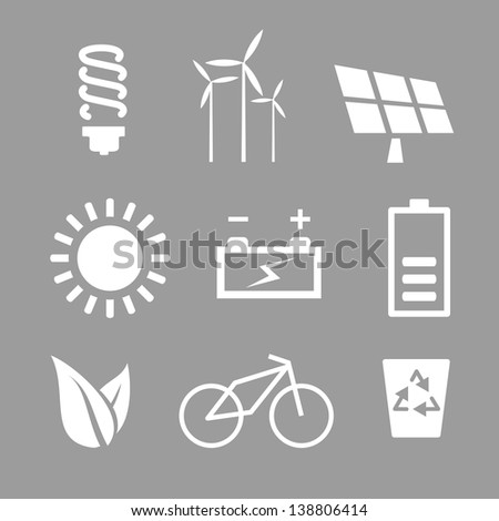 Icons for websites, ecology and environmental protection - stock photo