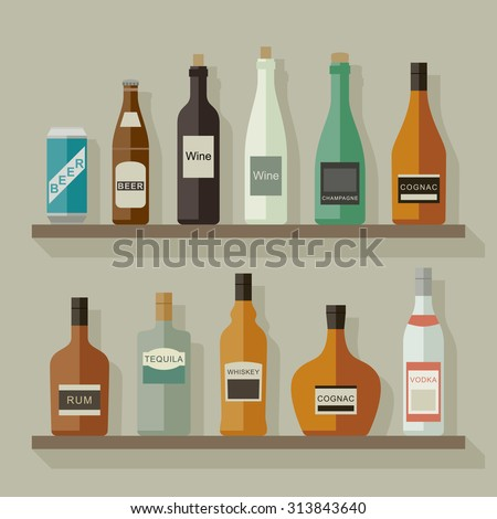 Icons of alcoholic beverages on the shelves in flat style. Raster version