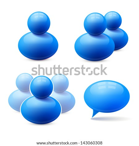Icons of people group and speech bubble - stock photo