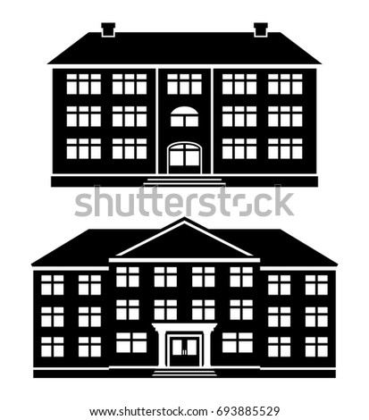 black and white apartment building clip art. Icons school  office buildings apartment house condominium in flat style Schoolhouses silhouettes School Office Buildings Apartment House Stock Illustration