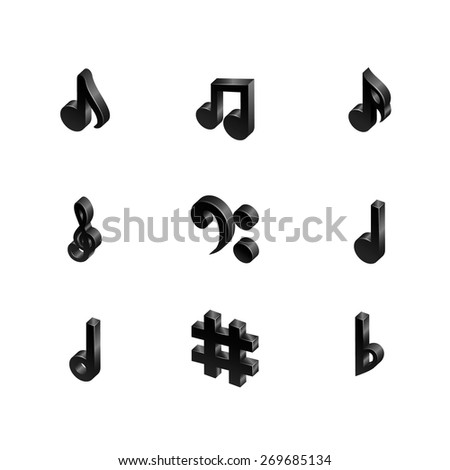 Icons set music note. Black musical notes isolated on white background. Musical notes are shown in the isometric view. Raster copy. - stock photo