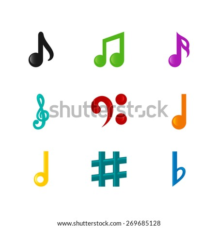 Icons set music note. Set of musical notes of different colors. Raster copy. - stock photo