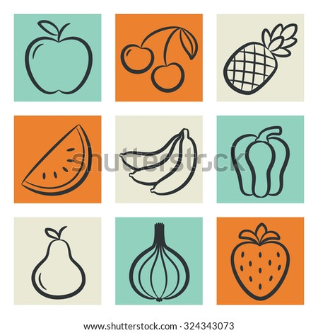 Icons set of fruits and vegetables