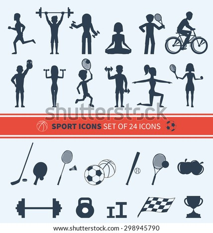 Icons set of man and woman doing warm-up and exercises with kettlebell, barbell and dumbbells. People jogging, practising yoga, playing basketball and tennis black icons. Raster version - stock photo