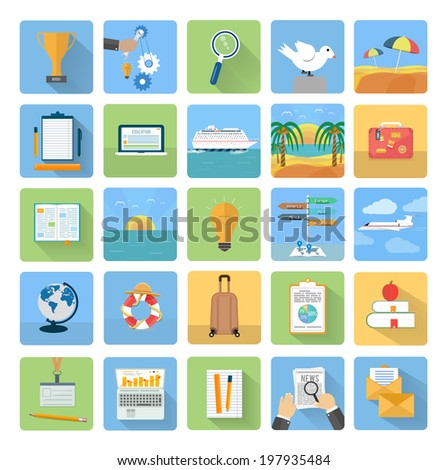 Icons set of traveling, planning a summer vacation, tourism and journey objects and passenger luggage in flat design. Different types of travel. Business travel concept. Raster version - stock photo