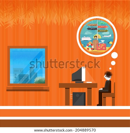 Icons set of traveling, planning a summer vacation, tourism and journey objects and passenger luggage in flat design. Different types of travel. Business travel. Dream about vacation. Raster version - stock photo